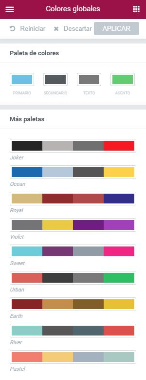 colores globales elementor